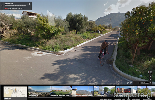 koyan at street view on his bicycle